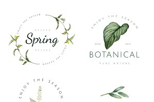 Nature and plant logo vector set