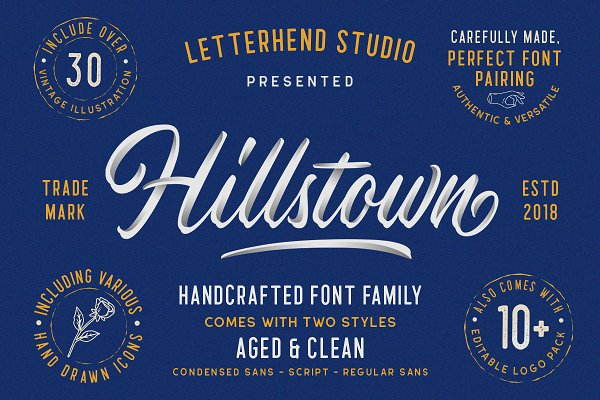 Script Fonts - Hillstown Font Collection (+EXTRA)