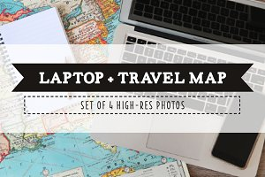 Laptop and Travel Map Photo Pack