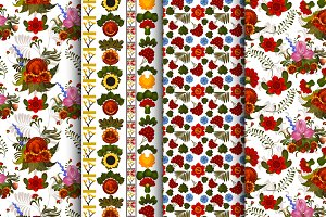 4 vector seamless floral patterns