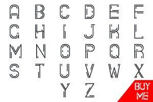 Simple Line Hipster Alphabet