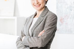 smiling attractive businesswoman in