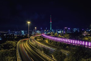 Auckland highway and city skyline