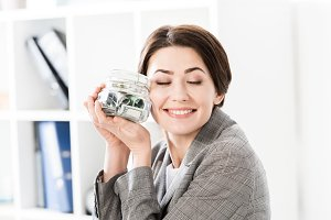 attractive happy businesswoman with