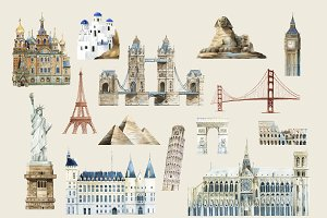 Set of famous landmark vectors