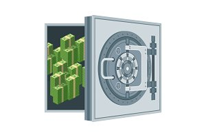 Bank vault door Flat vector cartoon