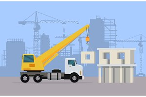 Truck Crane on Background of