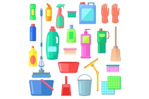 Cleaning. Different Icons of