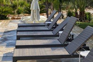 Sun beds and parasol