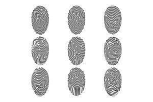 Outline fingerprint flat vector icon