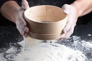 round wooden sieve