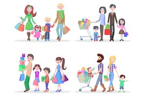 Happy Family Buying Goods and Gifts