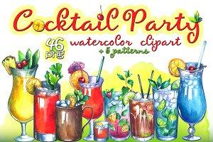 Cocktails watercolor clipart