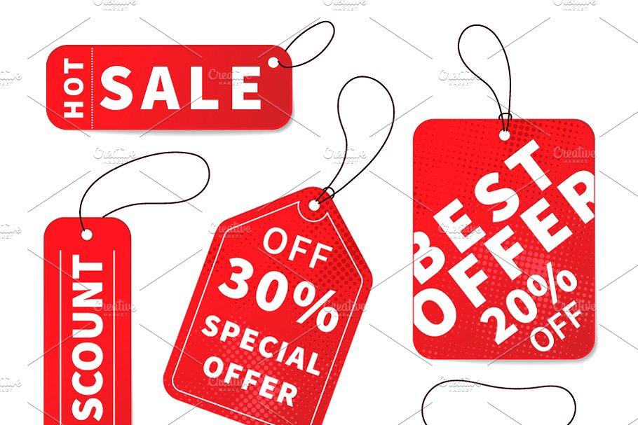 Bright colourful sale price labels