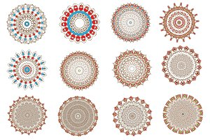 Set mandala round ornament pattern.