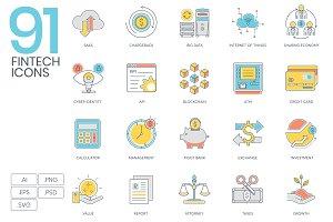 91 Fintech Color Line Icons