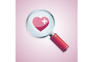 Dating concept loupe and heart