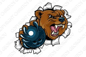 Bear Holding Bowling Ball Breaking