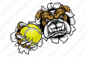 Bulldog Tennis Sports Mascot