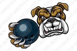 Bulldog Dog Holding Bowling Ball