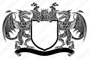 Dragon Emblem Shield Heraldic Crest