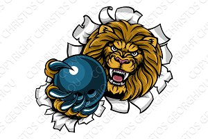 Lion Holding Bowling Ball Breaking