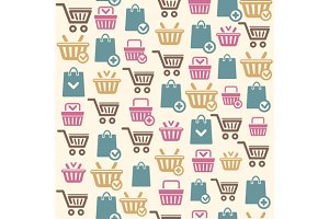 Vector Set of shopping cart pattern