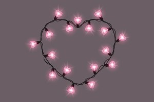 Light bulbs heart shape frame