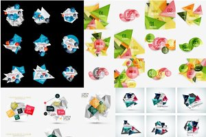Set of geometric infographic layouts