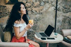 Beauty woman using laptop