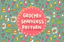 Vector Grocery seamless pattern