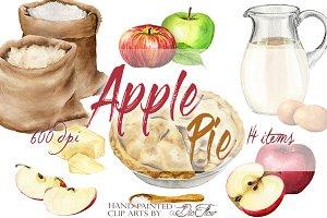 Apple Pie Watercolor Clip Art