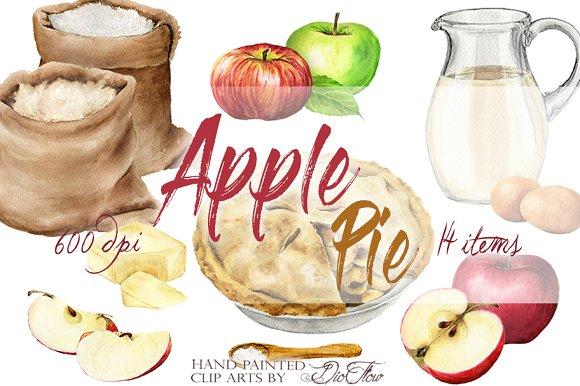 apple pie watercolor clip art illustrations creative market