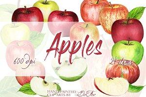 Apple Watercolor Clip Art