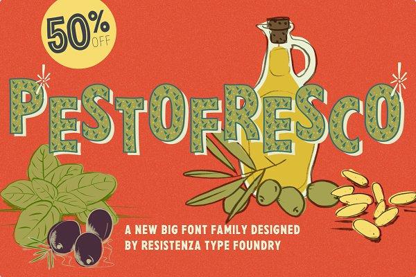 Sans Serif Fonts: Rsz Type Foundry - Pesto Fresco 28 fonts 50%Off