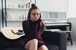 beautiful girl in glasses with eyes