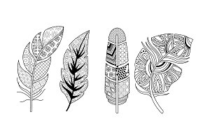 Artistically drawn feathers set