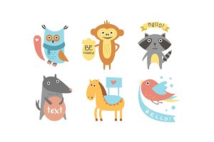 Cute animals with banners set, owl