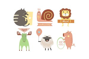 Lovely animals with banners set