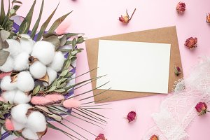 card with bouquet of dried flowers