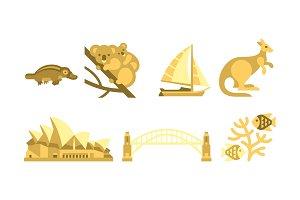 Australia traveling icons set