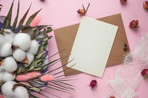 card and bouquet of dried flowers