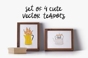 Set of 4 cute vector teapots