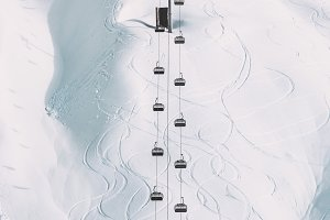 Funicular Cable cabins winter