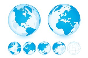 Globe with World Map. Blue.