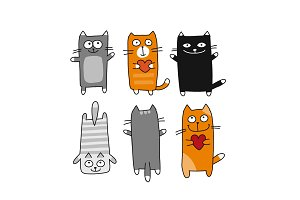 Funny cats collection, sketch for