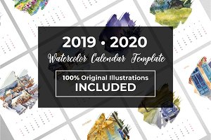 Watercolor Calendar 2019 + 2020