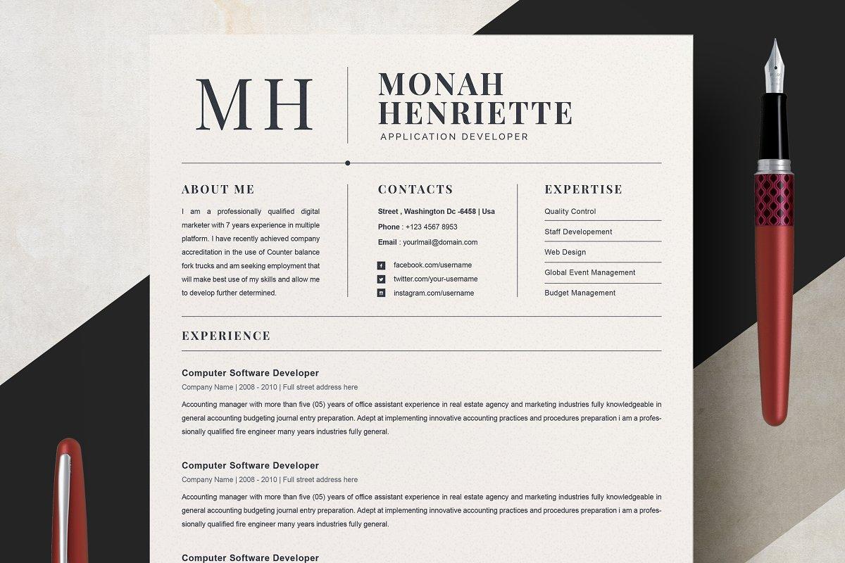 Clean Resume CV Template Templates Creative Market