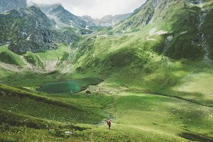 Summer vacations man traveler hiking