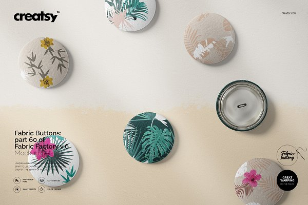 Product Mockups - Fabric Buttons Mockup 60/FF v.6